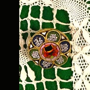Small Round Flwr Micro Mosaic Pin Brooch Italy 5/8